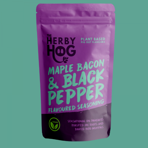 Herby Hog Maple Bacon vegan seasoning pack on turquoise background