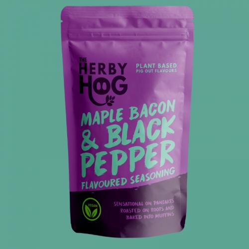 Herby Hog Maple Bacon vegan seasoning pack on turquoise background