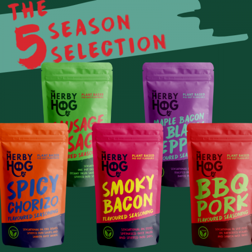 Herby Hog vegan seasonings variety pack with the title The 5 Season Selection