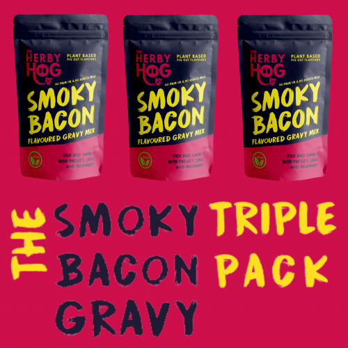 Three packs of Herby Hog Smoky Bacon Gravy with the title The Smoky Bacon Gravy Triple pack