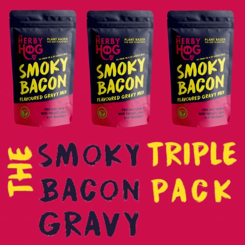 Three packs of Herby Hog Smoky Bacon Gravy with the title The Smoky Bacon Gravy Triple pack