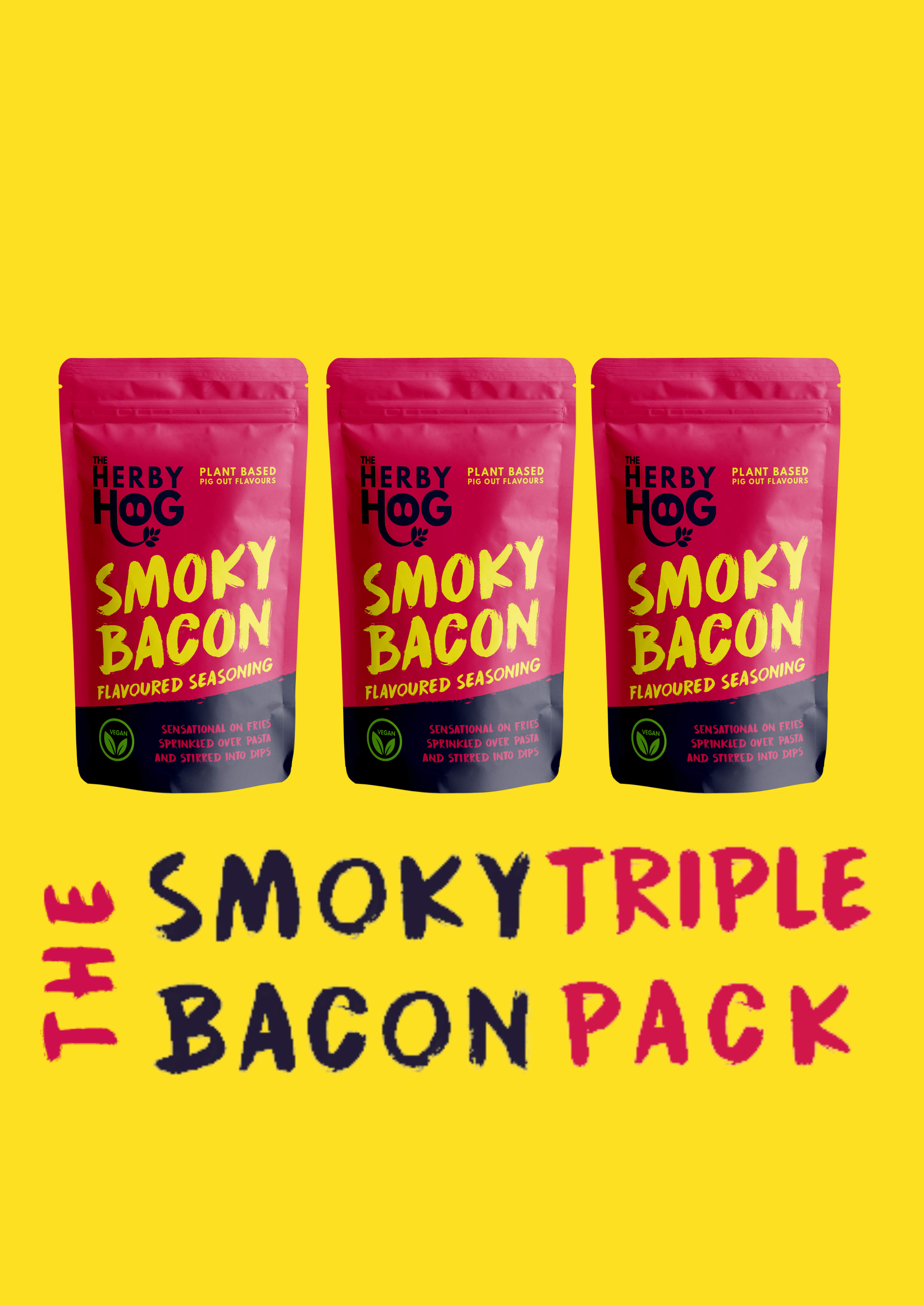 Three packs of Herby hog Smoky Bacon seasoning with the title The Smoky Bacon Triple pack